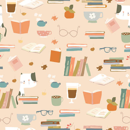 Seamless pattern with Books, Cups and Eyeglasses. Autumn Mood Illustration