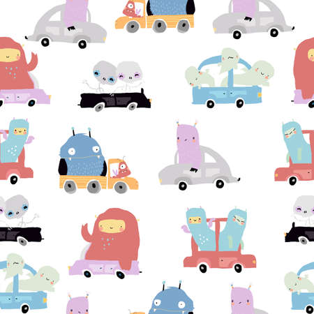 Seamless Pattern with cute Monsters on a Cars on White Background Illustration