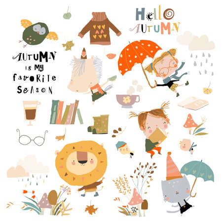 Fall set with cute animals and funny kids