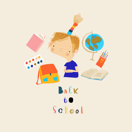 Happy Cartoon Girl thinking about School. Back to School