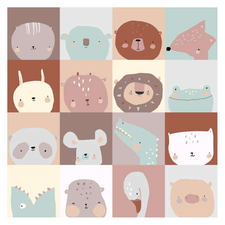 Set of Cute Faces Animals on Different Background Illustration