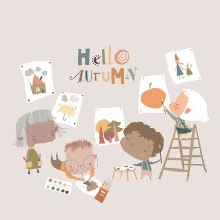 Cute cartoon Kids painting Pictures about Autumn