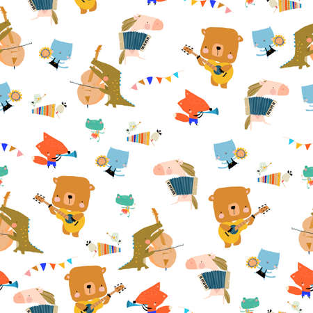 Seamless Pattern with Cute Animals playing the musical instruments Illustration