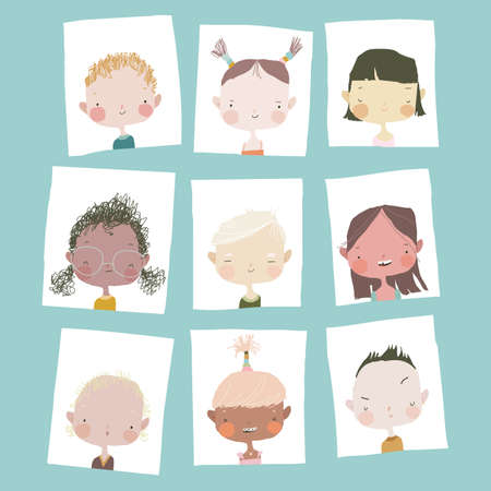 Cute Cartoon Girls and Boys Portraits Different Nations Illustration