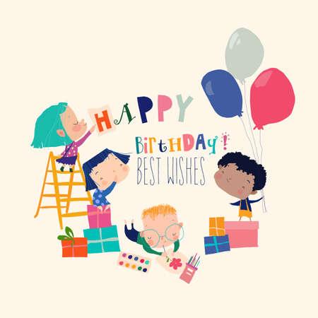 Card with Cute Cartoon Children celebrating Birthday
