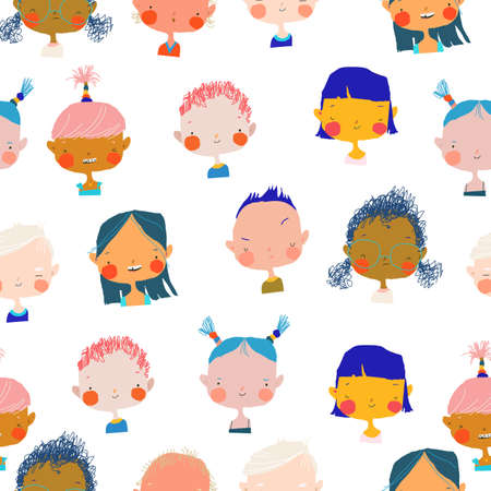 Seamless Pattern with Cute Cartoon Girls and Boys Portraits Different Nations