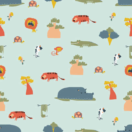 Seamless Pattern with Wild Jungle Animals on Blue Background