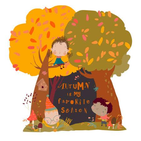 Cute Cartoon Children having fun in Autumn Forest