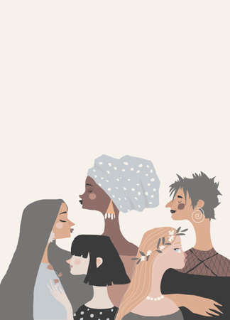 Illustration with Women Different Nationalities and Cultures