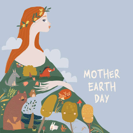 Happy Mother Earth Day with Red Hair Woman holding Forest and Animals