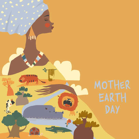 Happy Mother Earth Day with African Woman holding Savannah and Animals