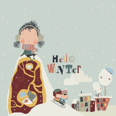 Cute Cartoon Girl sitting on Hillock and meeting Winter