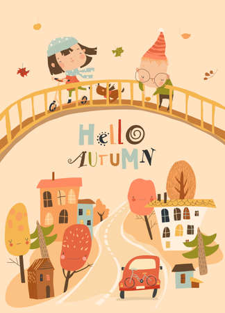 Cute Cartoon Children having fun and meeting Autumn