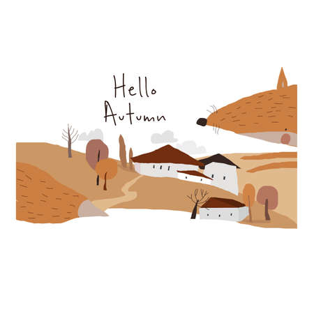 Cute Autumn landscape with Big Fox on White Background