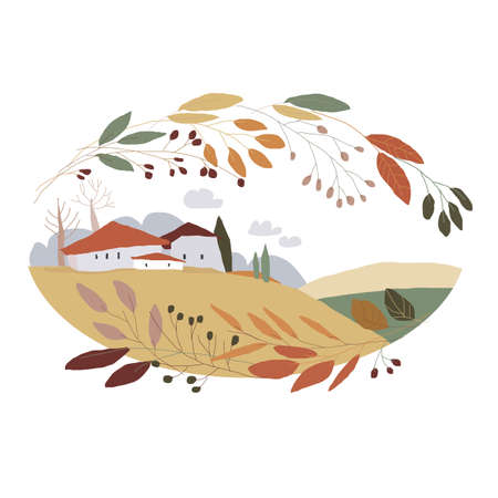 Cute Cartoon Landscape with Little Village and Colorful Wreath