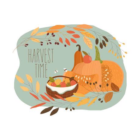 Still Life with Pumpkin and Autumn Fruits Illustration