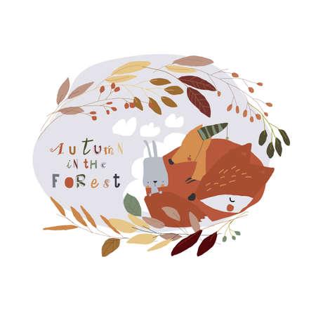 Cartoon Little Fox sleeping with Rabbit in Autumn Wreath Illustration