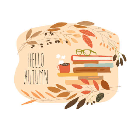 Cartoon Stack of Books with Eyeglasses and Cup in Autumn Wreath