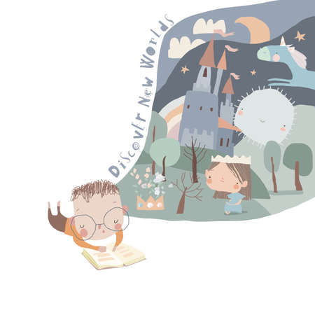 Cute Little Boy reading Book and dreaming Illustration