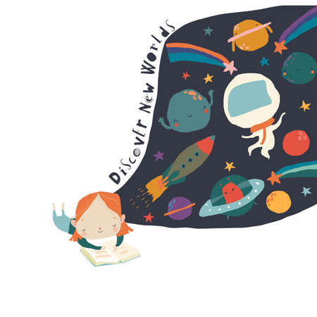 Cute Little Girl reading Book and dreaming about Space Illustration