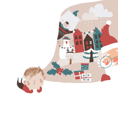 Cute Little Boy dreaming about Winter Holidays Illustration
