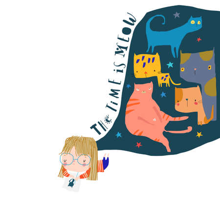 Cartoon Artist Girl painting and thinking about Cats