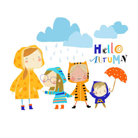 Illustration of Kids wearing Colorful Raincoats and Boots