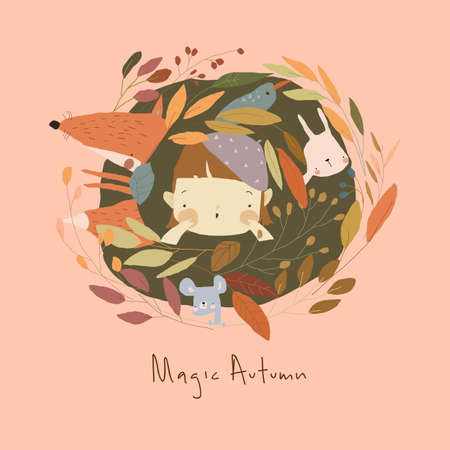 Cartoon Little Girl with Animals in Autumn Plants