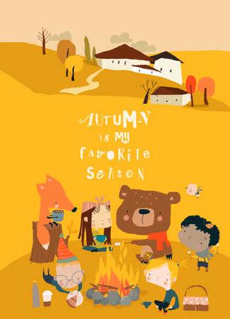 Cute Cartoon Friends sitting around Bonfire in Autumn Forest