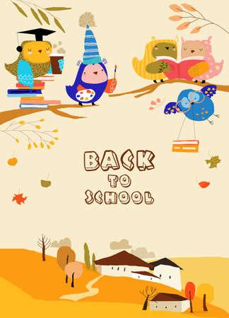 Funny Cartoon Owls preparing Back to School Illustration