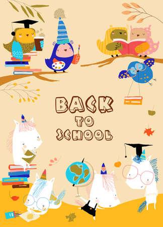 Funny Cartoon Owls with Unicorns preparing Back to School