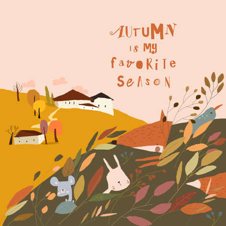 Cartoon Autumn Landscape with Little Village and Animals in Plants
