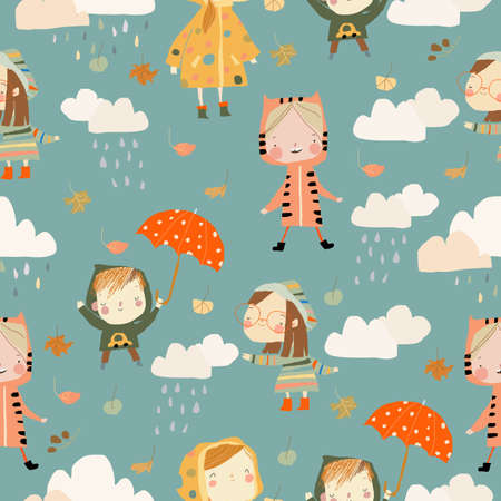 Seamless Pattern with Kids wearing Colorful Raincoats and Boots