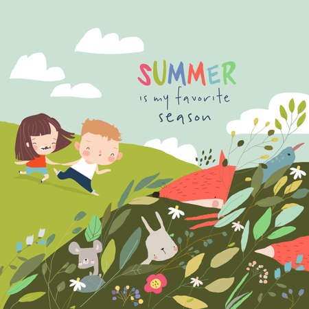 Cartoon Summer Illustration with Happy kids and Animals in Plants