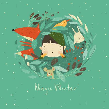 Cartoon Little Girl with Animals in Plants. Hello Winter