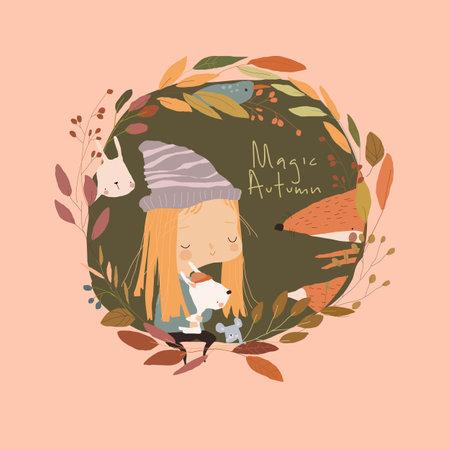 Cartoon Little Girl with Animals in Autumn Wreath Illustration