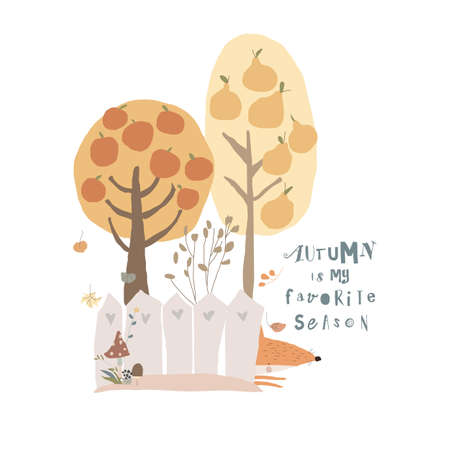 Cartoon Colorful Autumn Trees with Little Fox