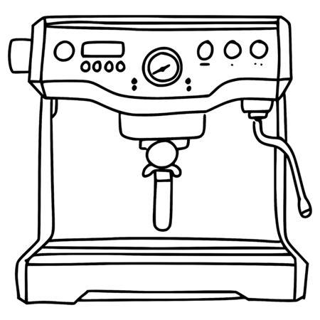 espresso coffee machine line vector