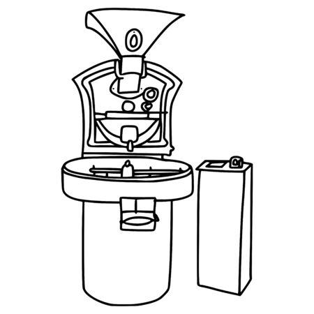 coffee roasting machine line vector