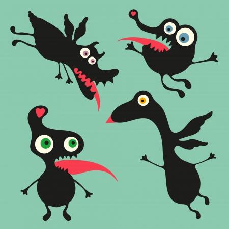 weirdo: Happy monsters illustration  - Set 7