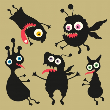 weirdo: Happy monsters illustration  - Set 8