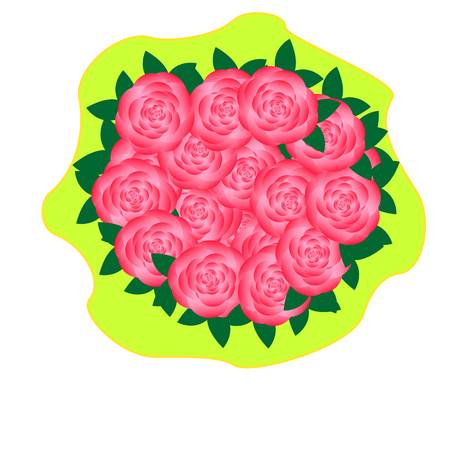 rosebud: Flower bouquet of pink roses in a yellow package Illustration