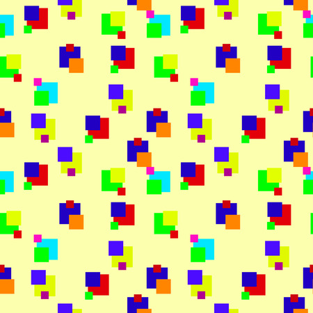 mondrian: seamless pattern with squares of different colors and shapes Illustration