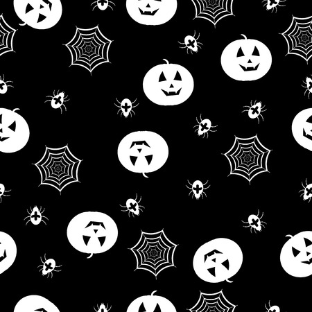 cobwebs: pumpkins, spiders and cobwebs on black , seamless background