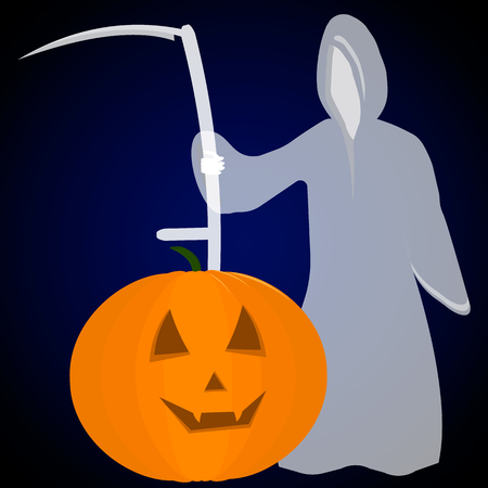 Cartoon Grim Reaper With Pumpkin Face Isolated On White Halloween