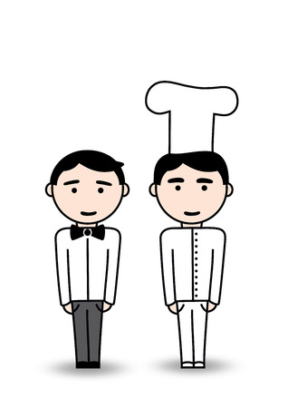 Waiter and cook Vector