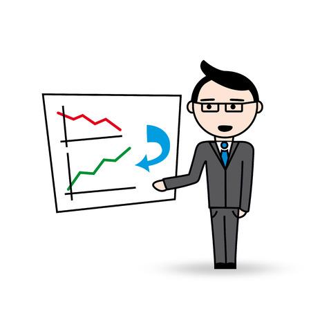 superintendent: Encargado con vidrios muestra su plan de negocio No es una infograf�a en la pizarra con el gr�fico de la disminuci�n de pasar a incrementar el gr�fico