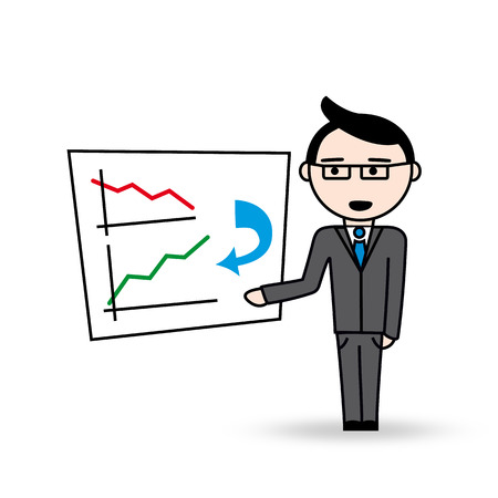 succes: Manager with glasses shows his business plan  There is an infographic on the whiteboard with decrease graph turning to increase graph