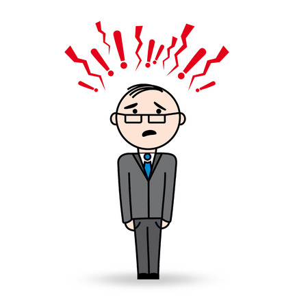 superintendent: Business man in stress situation  Man with danger and agressive symbols above his head  He wears glasses and has scared expression  Illustration
