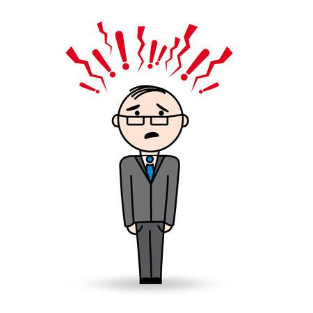 superintendent: Hombre de negocios en situaci�n de estr�s Hombre con peligro y s�mbolos agresivos sobre su cabeza Lleva gafas y ha asustado a la expresi�n
